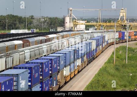 Portrait de wagons de marchandises à l'Union Pacific Railroad Bailey de triage, Oxford, Ohio, le plus grand triage Banque D'Images