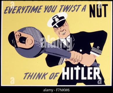 1943 La Seconde Guerre mondiale, la propagande américaine poster: officier de marine de tordre la tête de Hitler Banque D'Images