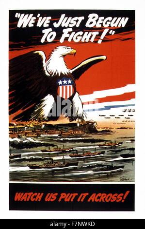 La seconde guerre mondiale, la propagande américaine posrter: 'Nous avons juste commencé à lutter!' 1942 Banque D'Images