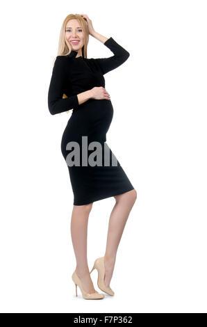 Jolie femme enceinte en robe noire isolated on white Banque D'Images