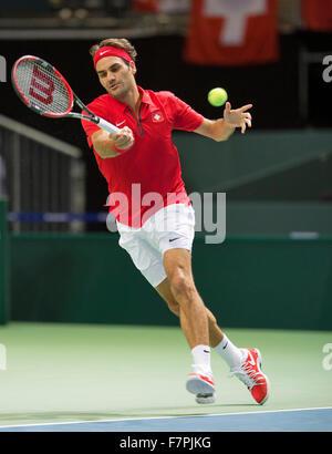 Suisse, Genve, le 18 septembre 2015, Tennis, Coupe Davis, Switserland-Netherlands, Roger Federer (SUI) Photo: H/Tennisimages Banque D'Images
