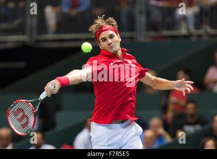 Suisse, Genève, le 18 septembre 2015, Tennis, Coupe Davis, Switserland-Netherlands, Roger Federer (SUI) Photo: Banque D'Images