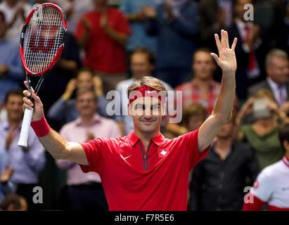 Suisse, Genève, le 18 septembre 2015, Tennis, Coupe Davis, Switserland-Netherlands jubilates, Roger Federer Suisse Banque D'Images