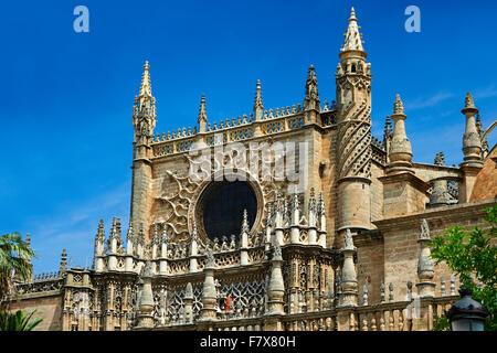 L'architecture gothique de la Cathédrale de Séville, Espagne Banque D'Images