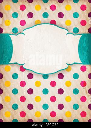 Polka Dot design texturé coloré avec étiquette Banque D'Images