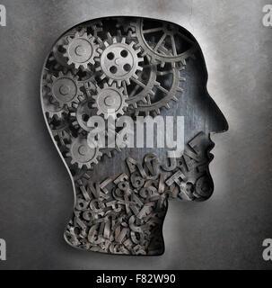 Modèle de travail du cerveau. La pensée, psychologie, créativité, langue concept. Banque D'Images
