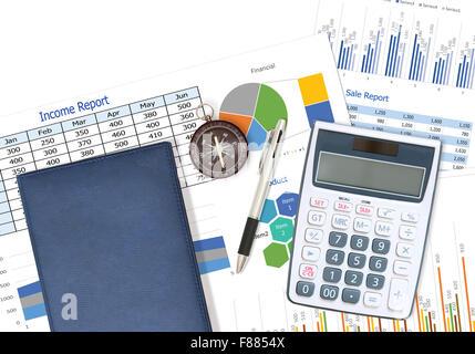 Rapport d'affaires et financiers avec stylo et verres sur desk in office Banque D'Images