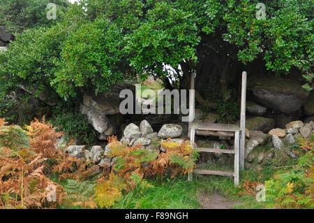 Stile en bois sur mur de granit en chemin sur promenade côtière autour de St Agnes penzance cornwall uk Banque D'Images