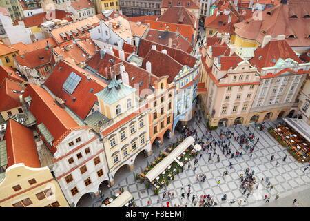 Ariel vue sur la place de la Vieille Ville, Prague, République tchèque, l'UNESCO Banque D'Images