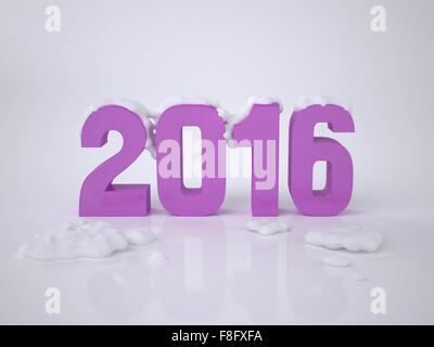 Carte de Nouvel An avec les trois dimensions des chiffres 2016. L'illustration de l'Concept 2016. L'image de rendu Banque D'Images