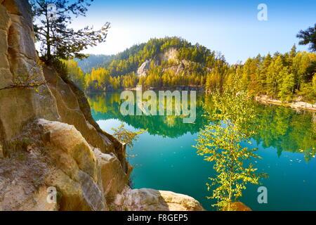 Lac Adrspach, République Tchèque Banque D'Images