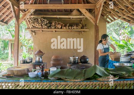 Asian chef cooking in cuisine extérieure Banque D'Images
