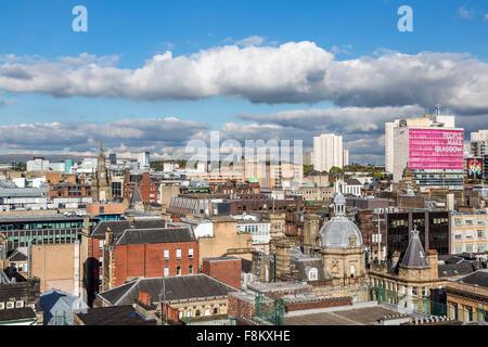 Vue sur le nord-est au-dessus du centre-ville de Glasgow depuis la Lighthouse Tower, Écosse, Royaume-Uni