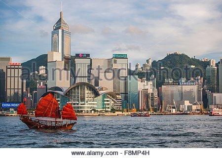 Jonque Chinoise Traditionnelle à voile port de Victoria à Hong Kong, Chine Banque D'Images