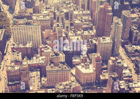 Stylisé vintage photo aérienne de Manhattan, New York, USA