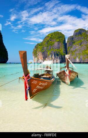 Thaïlande - Maya Bay Beach sur l'île de Phi Phi Leh, la mer d'Andaman Banque D'Images