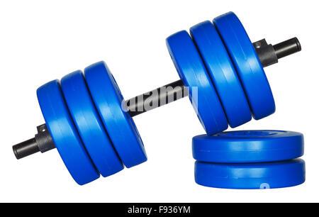 L'équipement de conditionnement physique poids haltère isolé sur fond blanc Banque D'Images