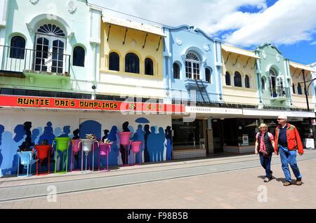 CHRISTCHURCH - Déc 07 2015:visiteurs à New Regent Street. Le bien-aimé de Christchurch New Regent Street réclame sa place comme l'un des plus célèbres et destination des visiteurs Banque D'Images