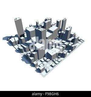 Cityscape Modèle 3D - Cartoon Syle Banque D'Images