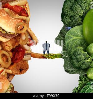 Options de l'alimentation les aliments santé question comme un homme obèse debout sur un pont entre la malbouffe Banque D'Images