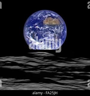 Vue de la Terre à partir de la Lune Banque D'Images