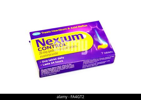 Nexium control, comprimés gastro-résistants, comprimés de brûlures d'estomac, comprimés de reflux acide, comprimés Banque D'Images