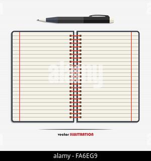 Ordinateur portable ouvert avec des pages lignées vierge et un stylo pour votre conception Banque D'Images