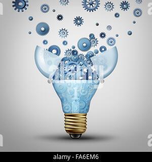 Solution de communication créative et ingénieuse idées marketing jusqu'à la livraison, une ampoule ouverte avec Banque D'Images