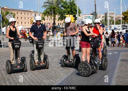 Segway-Tour dans le port, Barcelone, Espagne, Europe