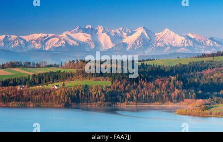 Montagnes Tatra, vue à partir de la région de Pieniny, Pologne Banque D'Images