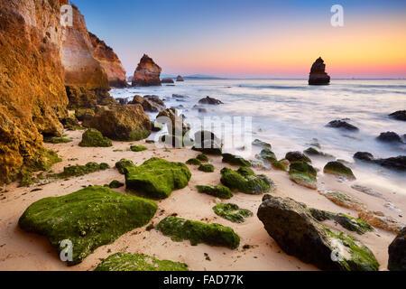 Côte de l'Algarve au lever du soleil près de Lagos, Algarve, Portugal Banque D'Images