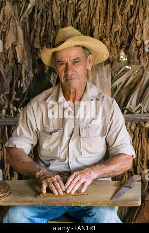 Le cigare cubain, cultivateur de tabac Cigarier Roller Vallée de Vinales, Cuba