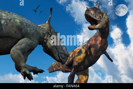Un Confroning Pachyrhinosaurus UN Carnotaurus