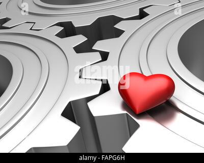 3D render of red heart sur les pignons métalliques Banque D'Images
