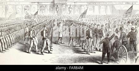Le départ du Colonel des Zouaves d'Ellsworth de New York, escorté par le service d'Incendie - Le Régiment et d'escorte Banque D'Images