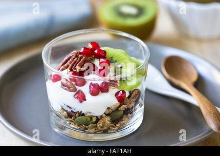 Le muesli avec du yaourt grec, kiwi et grenade dans un verre Banque D'Images