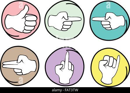 Signe de main, Cartoon Illustration d'une collection de mains montrant différents gestes en châssis circulaire Banque D'Images