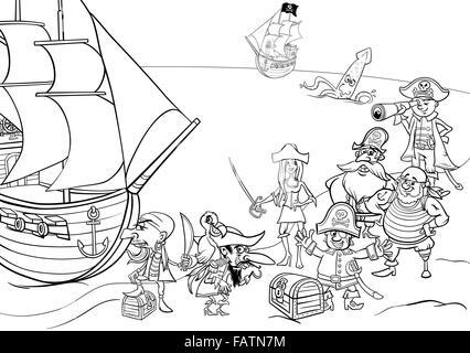 Cartoon Illustrations De Fantasy Pirate Personnages Sur L Ile Au