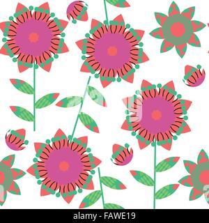 Motif floral coloré en vert transparent et couleurs rouge et sans motif dans le menu image vectorielle, swatch Banque D'Images