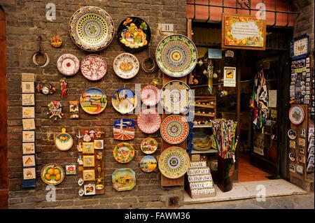 Italie, Toscane, Sienne, boutique touristique Banque D'Images