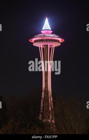 Seattle Space Needle dans la nuit, l'État de Washington, USA Banque D'Images