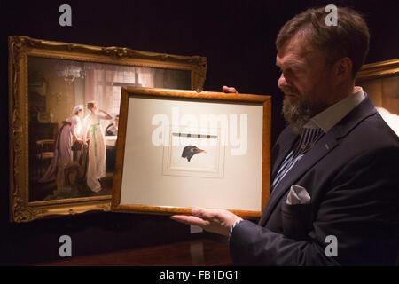 Londres, Royaume-Uni. 7 janvier 2016. Un marchand d'art de Haynes Fine Art détient l'étude d'un chef d'une poule Banque D'Images