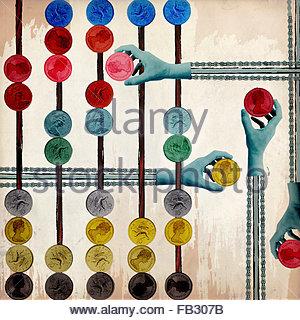 Les mains sur les chaînes de la poulie mécanique déménagement La monnaie britannique de pièces sur Abacus Banque D'Images
