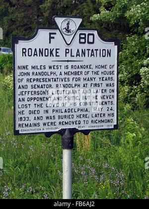 PLANTATION DE ROANOKE Roanoke est de neuf milles à l'ouest, maison de John Randolph, membre de la Chambre des représentants Banque D'Images