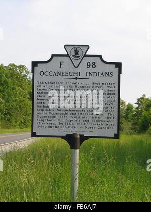 L'Occaneechi OCCANEECHI Indiens Indiens vivaient à proximité, sur une île de la rivière Roanoke. Bien connue pour Banque D'Images