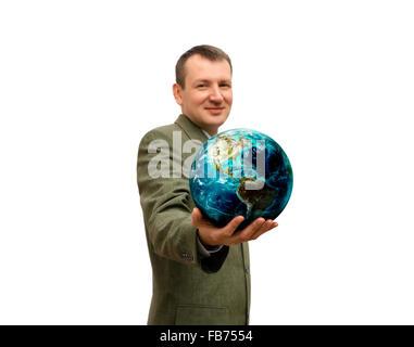 L'homme tient dans la main la planète isolée. Banque D'Images