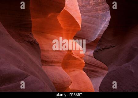 Formations de grès colorés, Lower Antelope Canyon, Slot Canyon, Page, Arizona, USA Banque D'Images