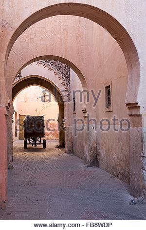 Mule et panier conduisant par des arcades à l'extérieur de la rose plâtrés, ancienne école Medersa Ben Youssef dans Banque D'Images