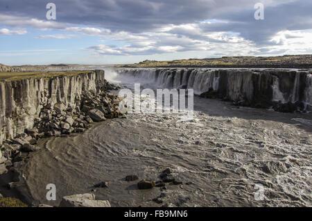 Vue sur la cascade Selfoss en Islande Banque D'Images