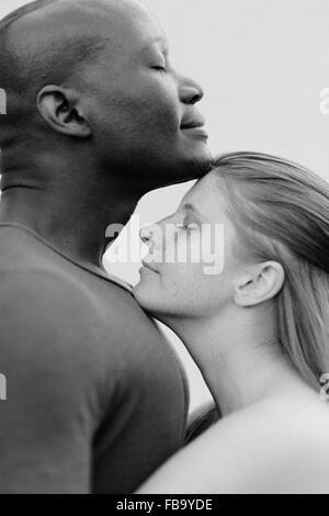 La Suède, Studio shot of mid adult couple on white background